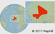 Savanna Style Location Map of Mali, hill shading