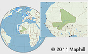 Savanna Style Location Map of Mali, lighten, land only