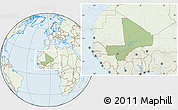 Savanna Style Location Map of Mali, lighten