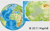 Savanna Style Location Map of Mali, physical outside, hill shading