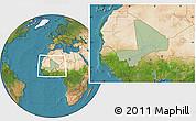 Savanna Style Location Map of Mali, satellite outside, hill shading