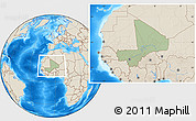 Savanna Style Location Map of Mali, shaded relief outside, hill shading