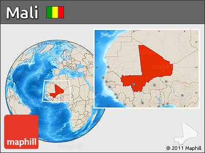 Shaded Relief Location Map of Mali