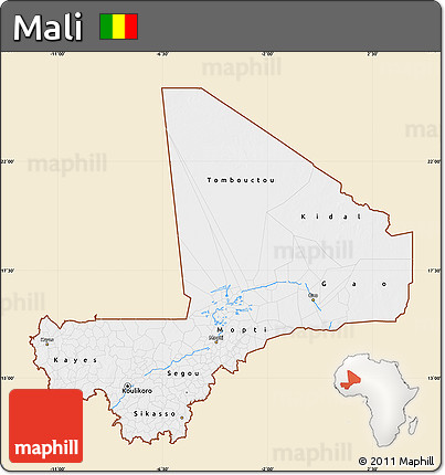 Classic Style Map of Mali, single color outside