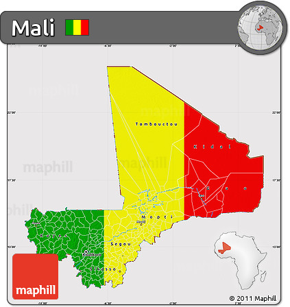 Flag Map of Mali