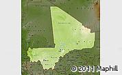 Physical Map of Mali, darken