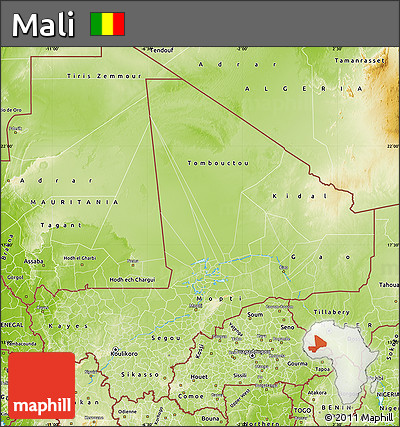 Physical Map of Mali