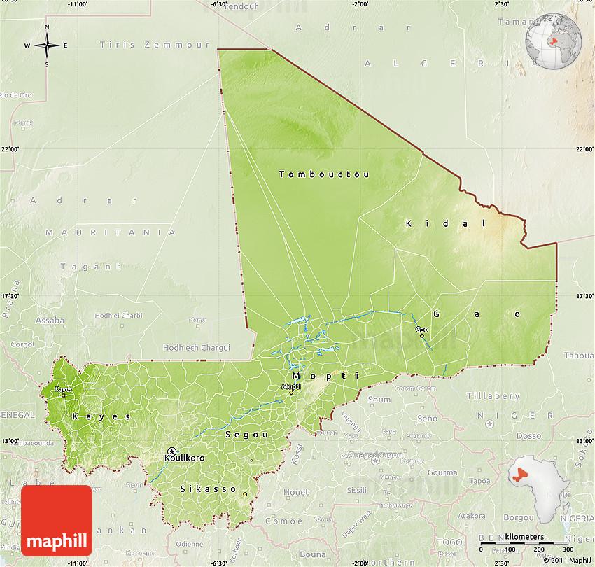 Physical Map of Mali lighten