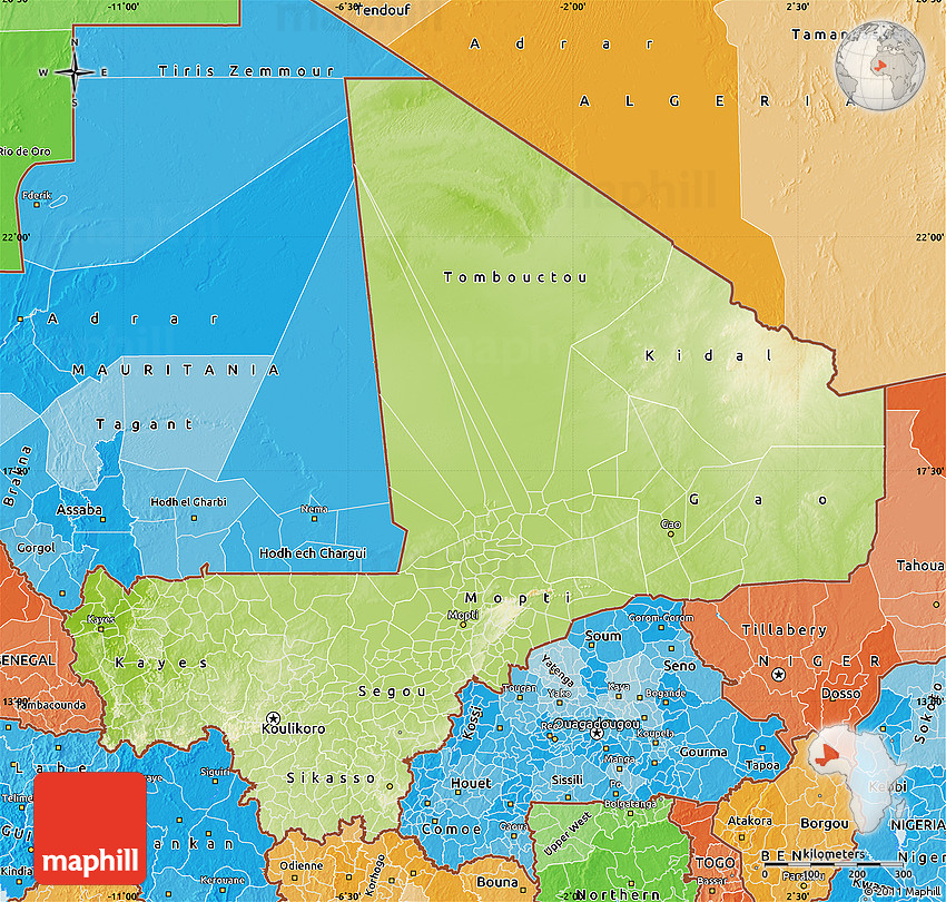 Physical Map of Mali political shades outside