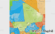 Physical Map of Mali, political shades outside