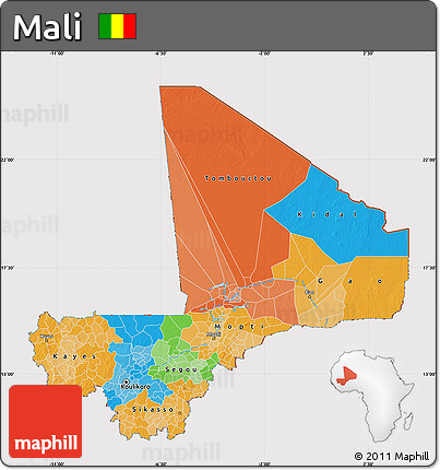 Political Map of Mali, cropped outside