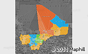Political Map of Mali, darken, desaturated