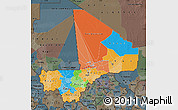 Political Map of Mali, darken, semi-desaturated