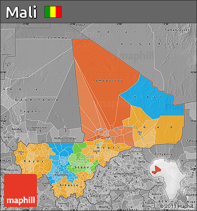 Political Map of Mali, desaturated
