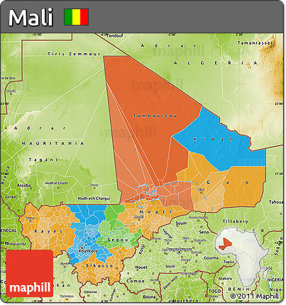 Political Map of Mali, physical outside