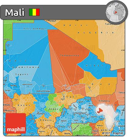 Political Map of Mali, political shades outside