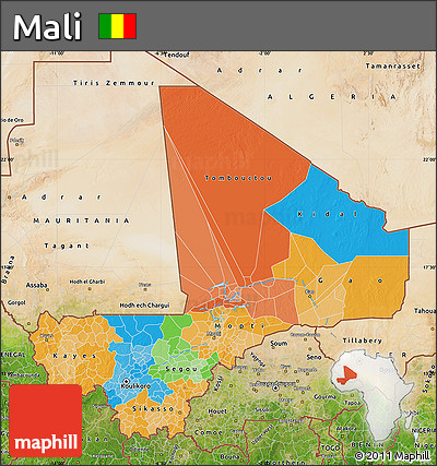 Political Map of Mali, satellite outside