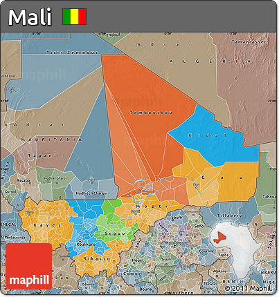 Political Map of Mali, semi-desaturated