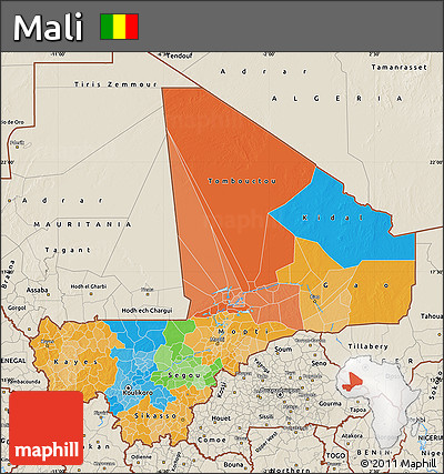 Political Map of Mali, shaded relief outside