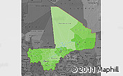 Political Shades Map of Mali, darken, desaturated