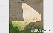 Satellite Map of Mali, darken