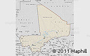Shaded Relief Map of Mali, desaturated