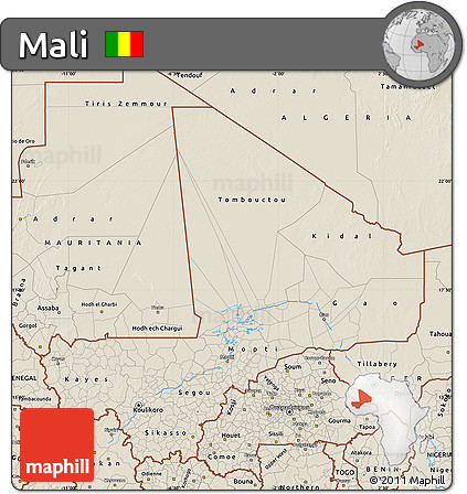 Shaded Relief Map of Mali