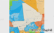 Shaded Relief Map of Mali, political shades outside