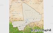 Shaded Relief Map of Mali, satellite outside