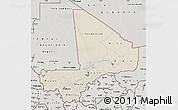 Shaded Relief Map of Mali, semi-desaturated