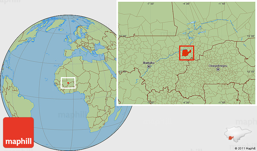Savanna Style Location Map of Djenne