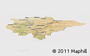Satellite Panoramic Map of Mopti, cropped outside