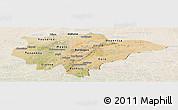 Satellite Panoramic Map of Mopti, lighten