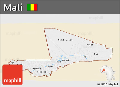 Classic Style Panoramic Map of Mali, single color outside