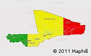 Flag Panoramic Map of Mali, flag centered