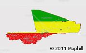 Flag Panoramic Map of Mali, flag rotated