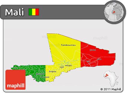 Flag Panoramic Map of Mali
