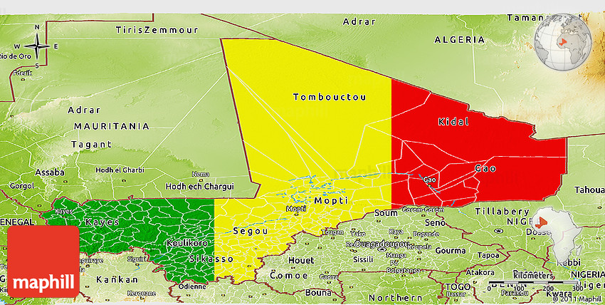 Flag Panoramic Map of Mali physical outside