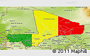 Flag Panoramic Map of Mali, physical outside