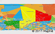 Flag Panoramic Map of Mali, political outside