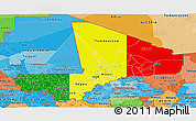 Flag Panoramic Map of Mali, political shades outside