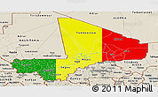 Flag Panoramic Map of Mali, shaded relief outside