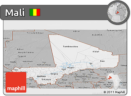 Gray Panoramic Map of Mali