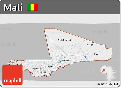 Gray Panoramic Map of Mali, single color outside