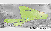 Physical Panoramic Map of Mali, desaturated