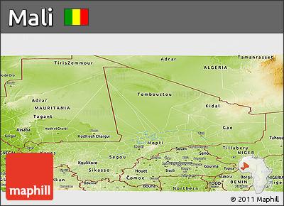 Physical Panoramic Map of Mali