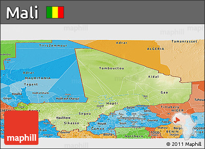Physical Panoramic Map of Mali, political shades outside