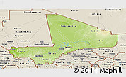Physical Panoramic Map of Mali, shaded relief outside