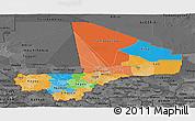 Political Panoramic Map of Mali, darken, desaturated