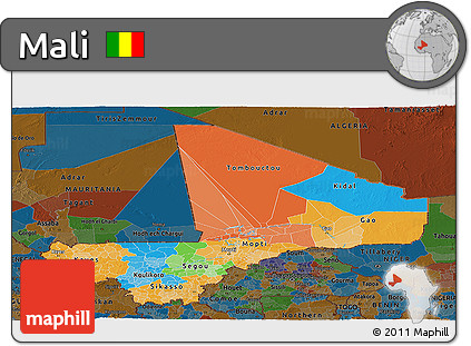 Political Panoramic Map of Mali, darken